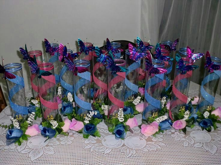 Pink and blue Butterfly centerpieces | Quinceanera ...
