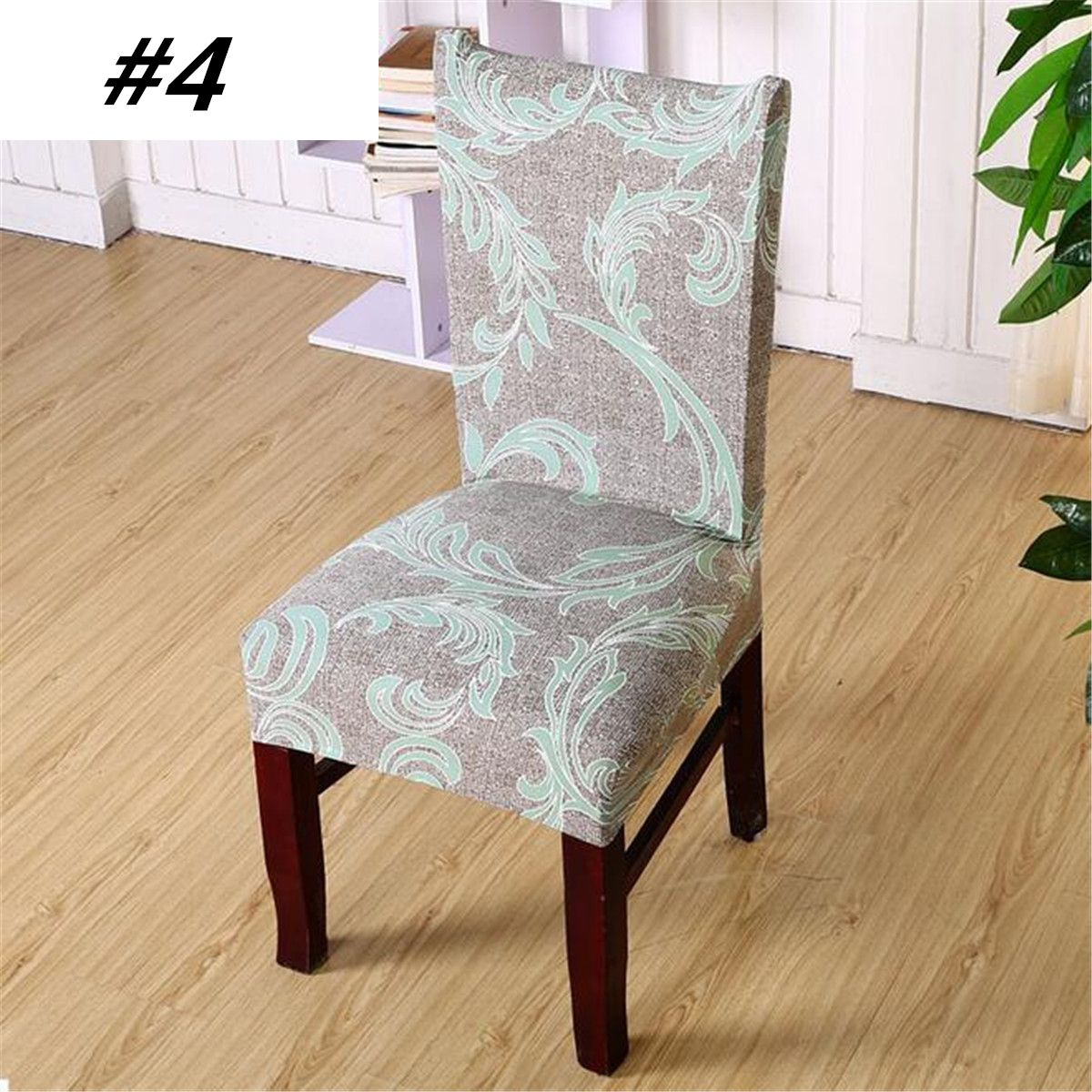 Set Of 4 Dining Chair Cover Protector Slipcover Spandex Stretch Short Dining Room Chair Covers Seat Protector With Printed Pattern For Dining Room Wedding Banqu Dining Room Chair Covers Slipcovers For Chairs