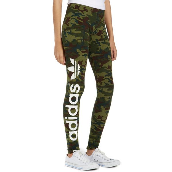 c79bfa6d875 adidas Originals Camo Print Leggings ($38) ❤ liked on Polyvore featuring  pants, leggings, bottoms, adidas, pants/jeans, camo leggings, green camo  pants, ...