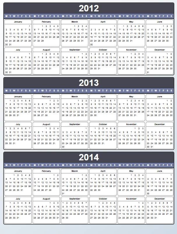 yearly calendar 2012 2013 2014 printable visual planner for