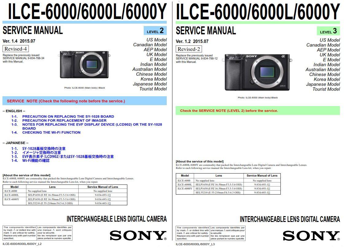 Sony Alpha Alpha A6000 Ilce 6000 6000l 6000y Digital Camera Service Manual Printed Circuit Boards Sony Alpha Digital Camera