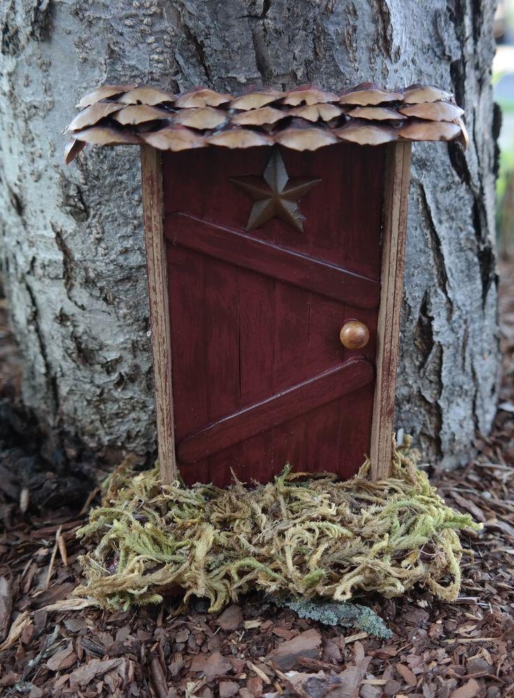 Fairy Door VILLAGE hobbit miniatures garden decor GNOME yard ornament Handmade