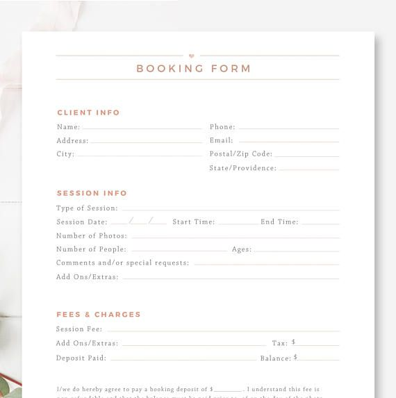 Client Booking Form For Photographers Photography Contract