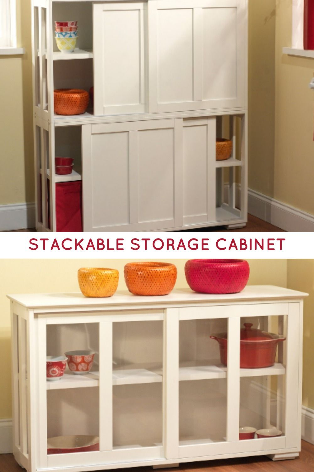 Sliding Tempered Glass Doors Stackable Storage Cabinet Can Help Keep Clutter Out Of The Way Use Alone Stackable Storage Storage Cabinet Antique White Cabinets