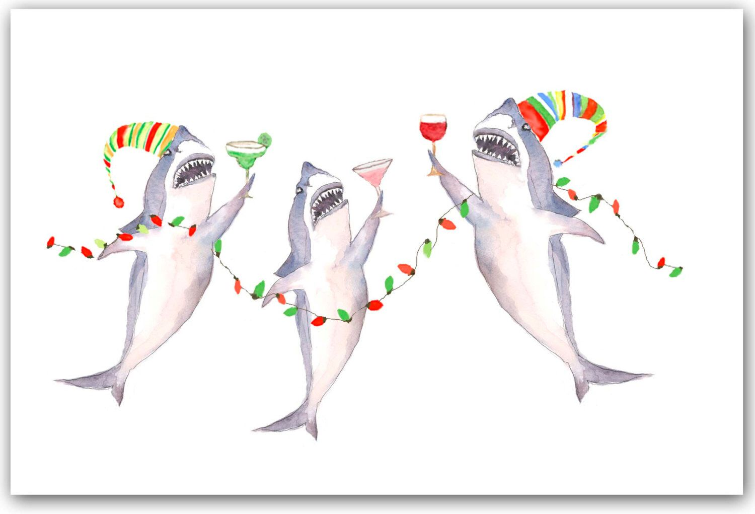 Great White Shark Christmas cards, shark watercolor, shark painting ...