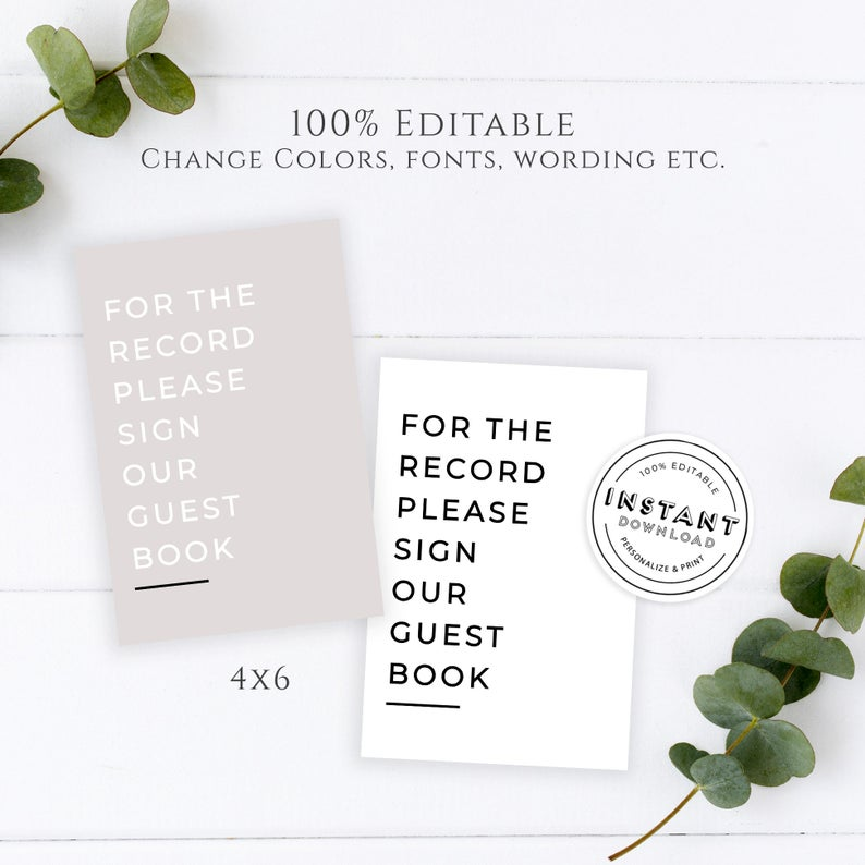 Minimalist Wedding Guest Book Sign | Monochrome Wedding Decor | Modern Wedding Signage Template Instant Download 4x6 Editable Wedding Sign