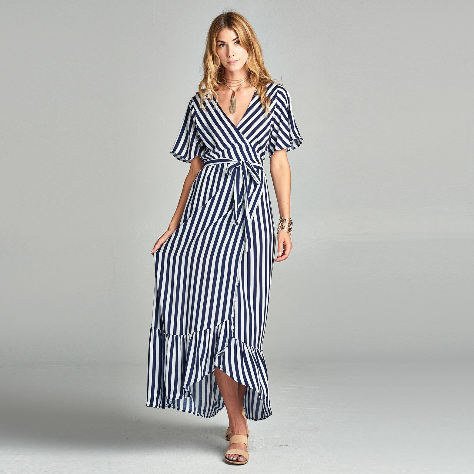 A Soft And Comfortable Maxi Dress With A Ruffled Hem For An Elegant Sway And A Nice Bold Vertical Stripe This Max Maxi Dress Wrap Around Dress Maxi Wrap Dress [ 1564 x 1564 Pixel ]