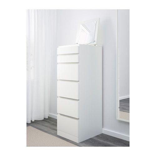 MALM Commode à 6 tiroirs, blanc, miroir | Malm, Commodes et Tiroir