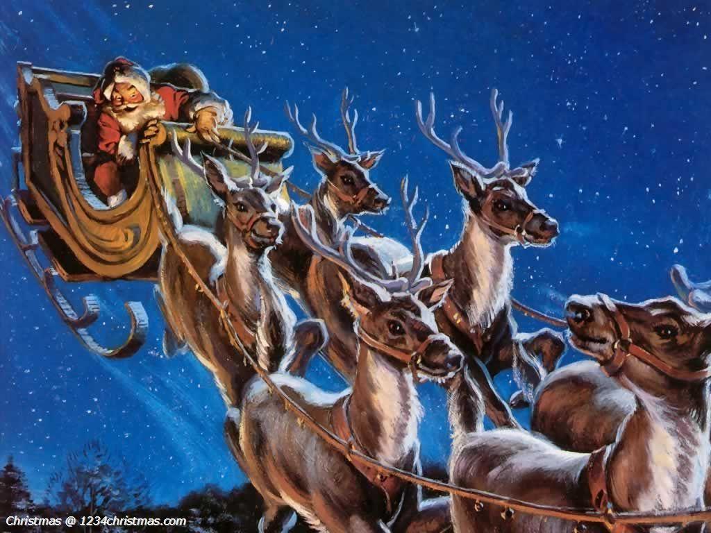 Santa Claus Reindeer Wallpaper Merry Christmas Wallpaper Santa And His Reindeer Reindeer And Sleigh
