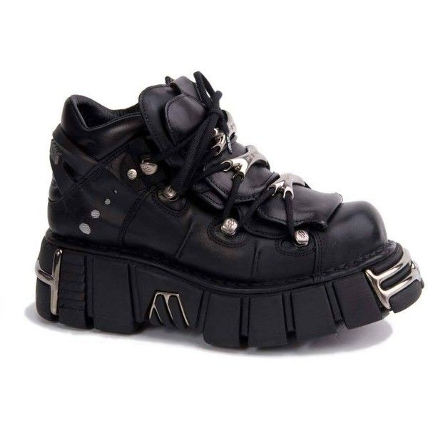 New Rock M106-S1 Black Platform Shoes ($229) ❤ liked on Polyvore featuring shoes, rock shoes, black shoes, platform shoes, kohl shoes and black platform shoes