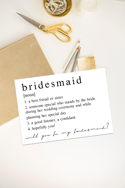 Minimalist Bridesmaid Definition Bridesmaid Proposal Will You Etsy In 2020 Bridesmaid Proposal Bridesmaid Proposal Cards Be My Bridesmaid Cards