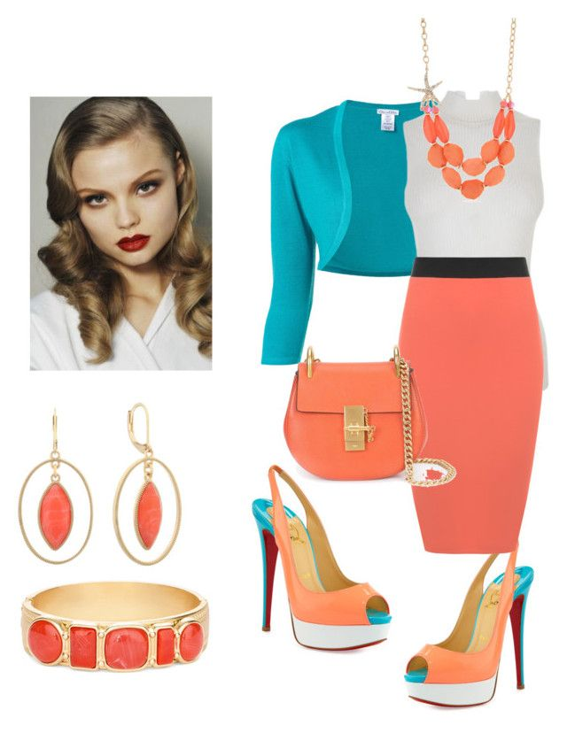 """Off To Work"" by jfkayla on Polyvore featuring Christian Louboutin, Oscar de la Renta, Fendi, WearAll, Chloé, Kim Rogers, Monet, Chico's and plus size clothing"