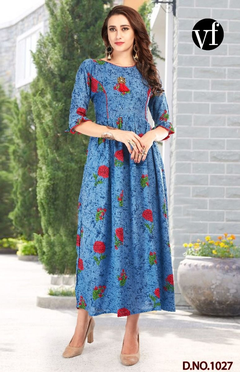 1c39c88a16 VF Vol-8 Cherry Heavy Rayon Print Kurtis ( 4 pc catalog ...