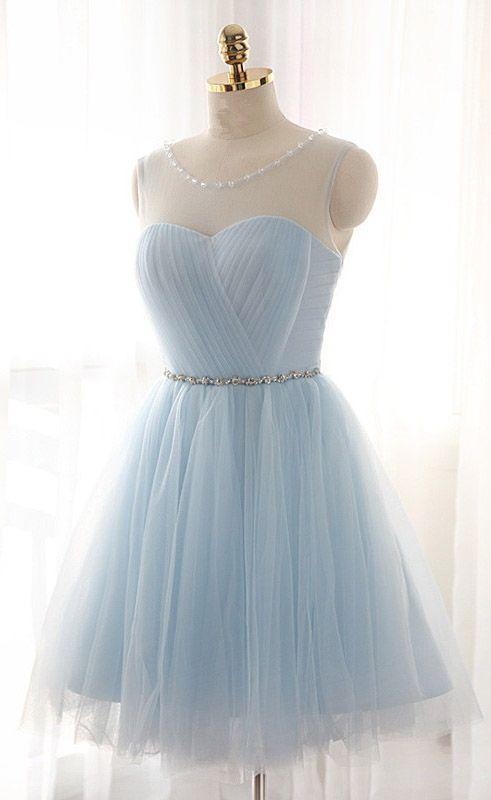 Tulle prom dress,Short Prom Dresses,Charming Homecoming Dresses,Homecoming Dresses,sky blue prom dress,short prom dresses