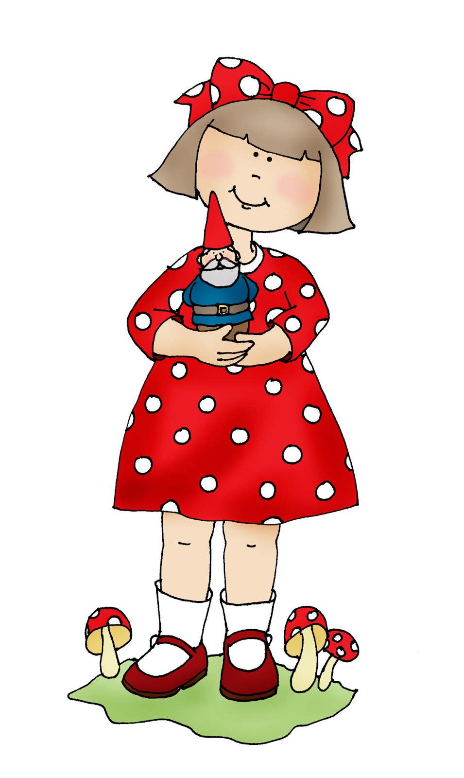 Free Dearie Dolls Digi Stamps Girl with Gnome Digital