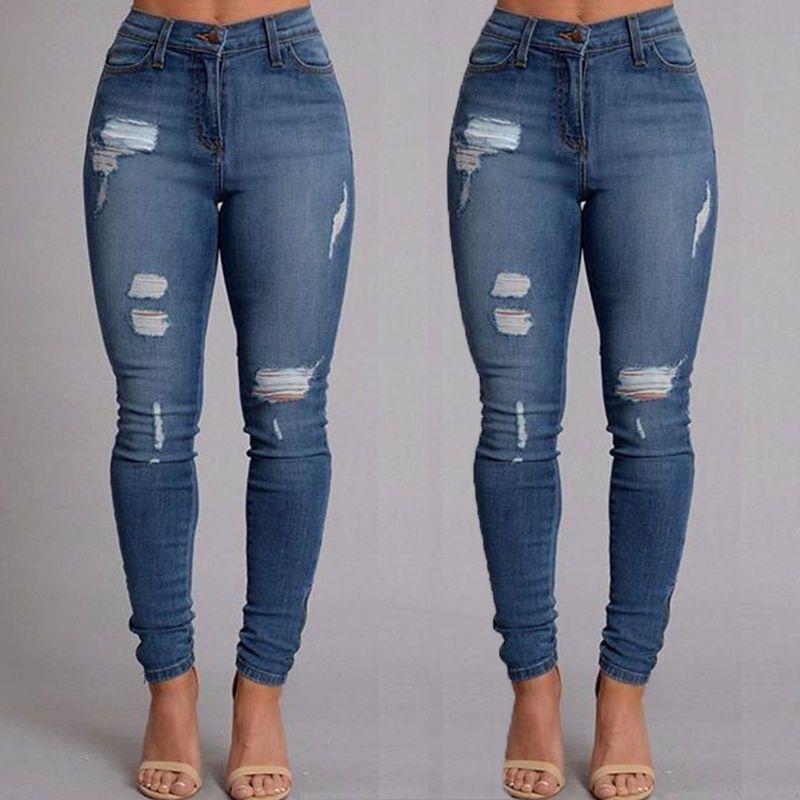 1ca93dcaa5d Women Denim Skinny Pants High Waist Destroyed Stretch Trousers Slim Pencil  Jeans