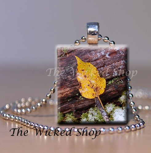 Scrabble Tile Pendant Necklace - Fallen Leaf  - Original Art Pendant Necklace  - (OA4)  Comes with a FREE Silver Plated Ball Chain on Etsy, $8.33