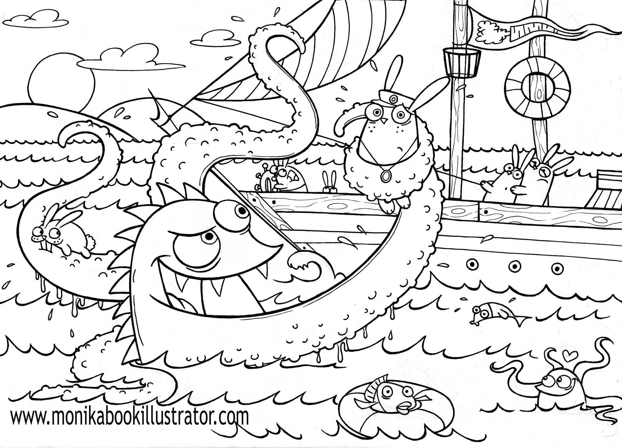 sea monster coloring pages - Monster Coloring Pages