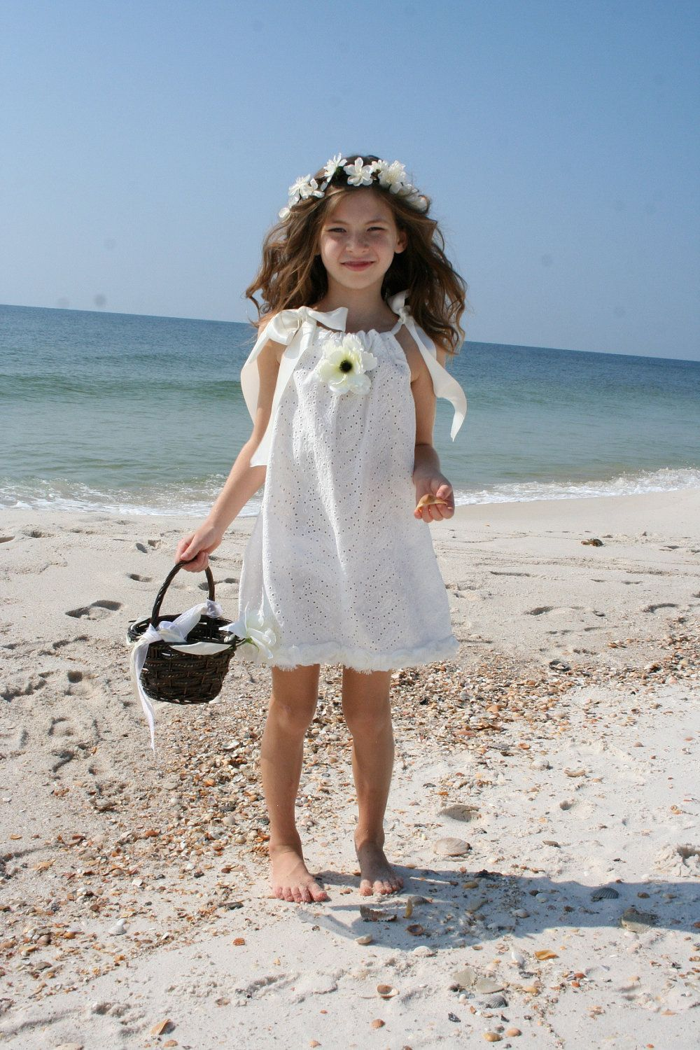 White Paisley Eyelet Flower Dress Perfect For A Beach Wedding Or Portraits