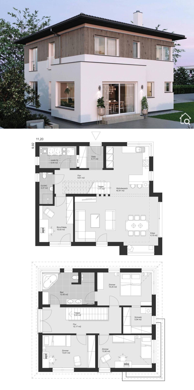 Fertighaus Stadtvilla modern mit Walmdach Erker & Holz Putz Fassade bauen Haus Grundriss Ideen