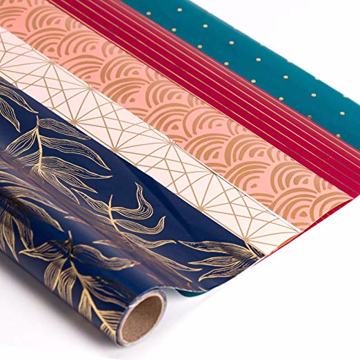 Amazon Com Ruspepa Gift Wrapping Paper Roll White And Gold Foil