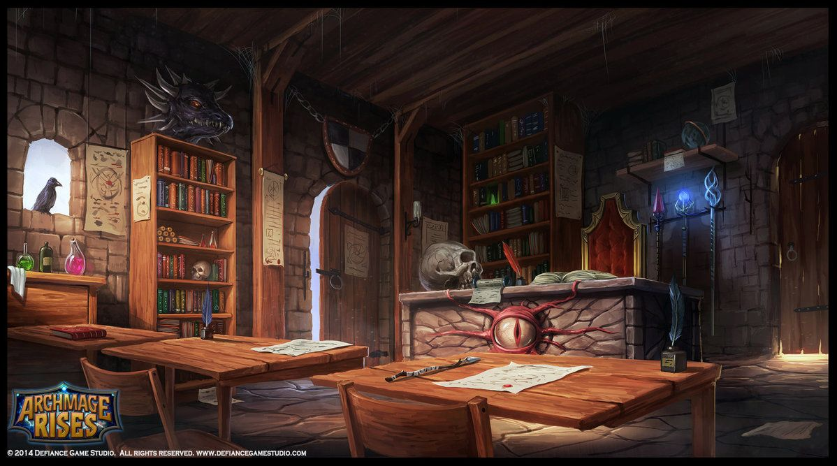 The Mage's Classroom Illustration made for an upcoming game named: Archmage  Rises by Defiance Game Studio. For more info … | Environment concept art,  Indie art, Art