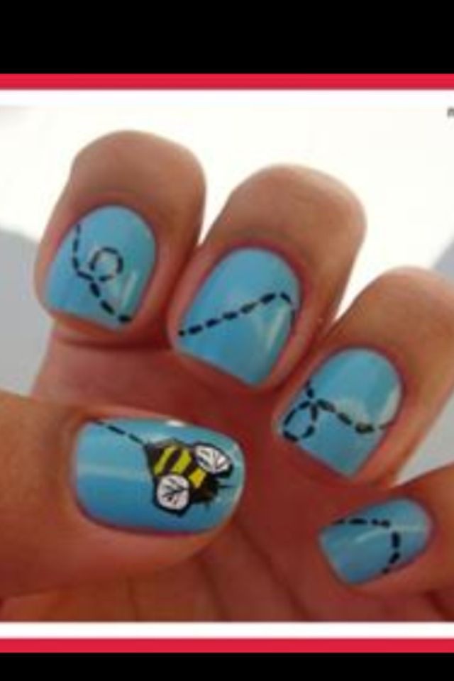 Easy Idea for nails let the blue coat dry and then paint the top coat which is the bee and the tracks behind him  FOLLOW ME