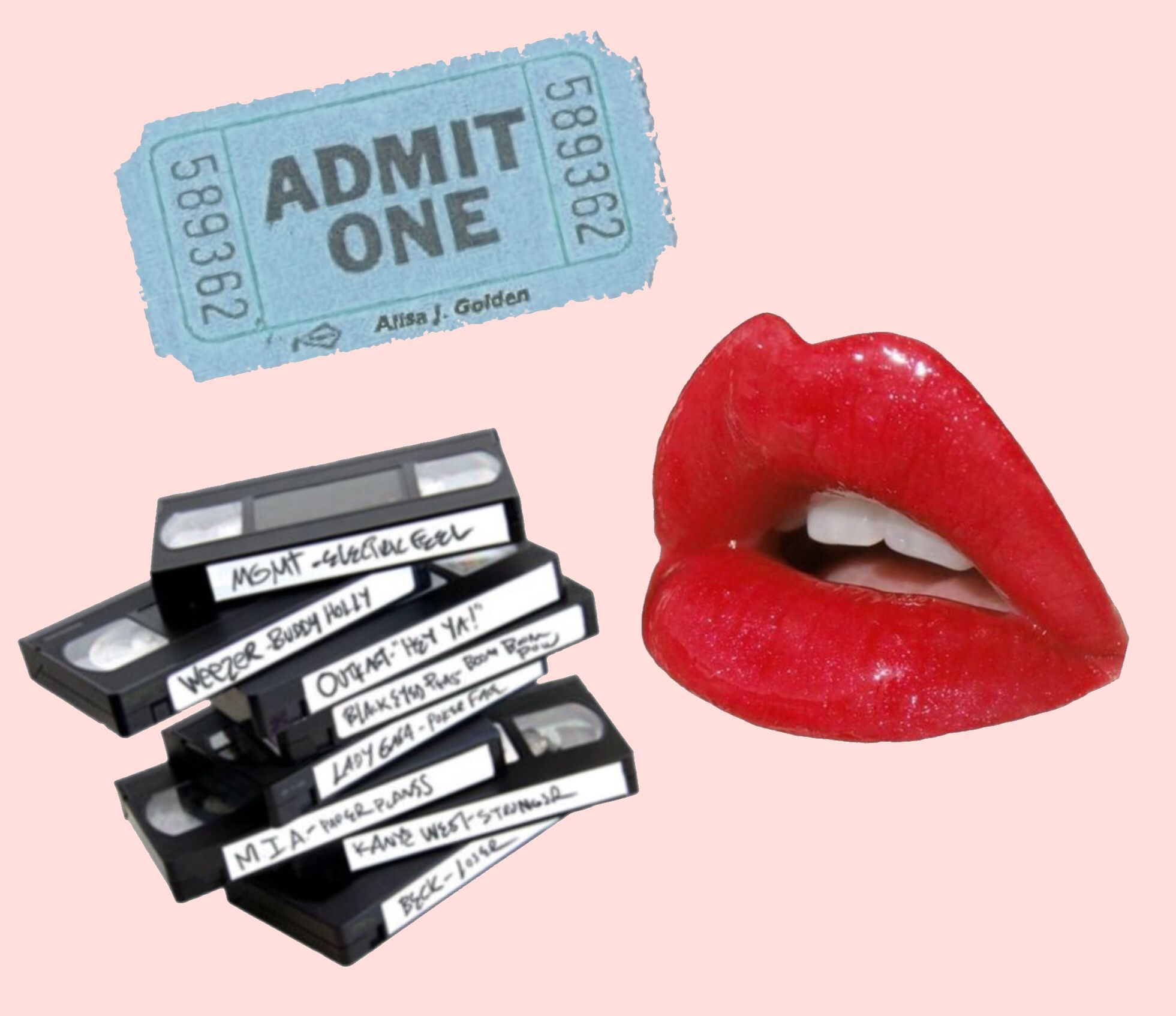 Admit One Ticket Blue Red Lips Vhs Tape Stack Pink Background