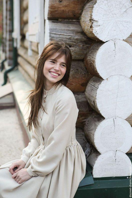 13f68a9d4adc80c Платья ручной работы. Ярмарка Мастеров - ручная работа. Купить Молочное  тёплое шерстяное платье с пышной юбкой и длинным рукавом. Handmade.