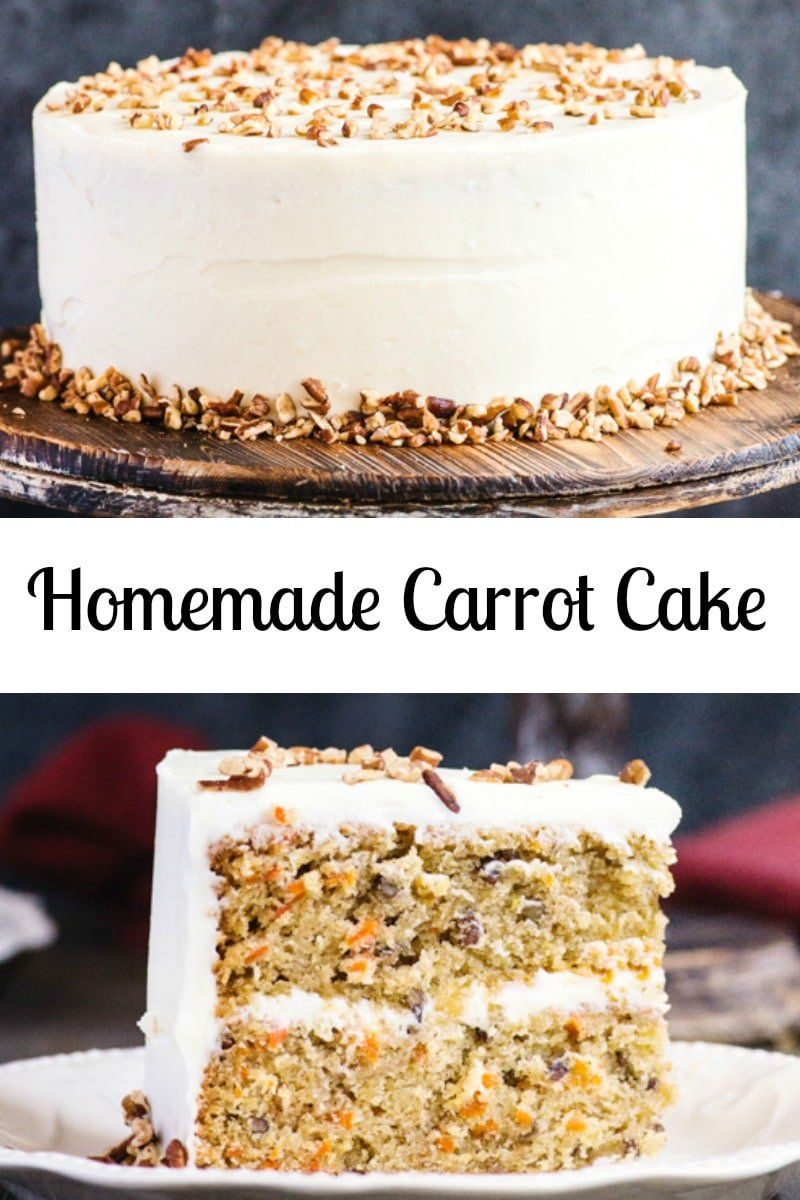 A moist and delicious Homemade Carrot Cake.  A simple traditional Cake, with a creamy Cream Cheese Frosting.