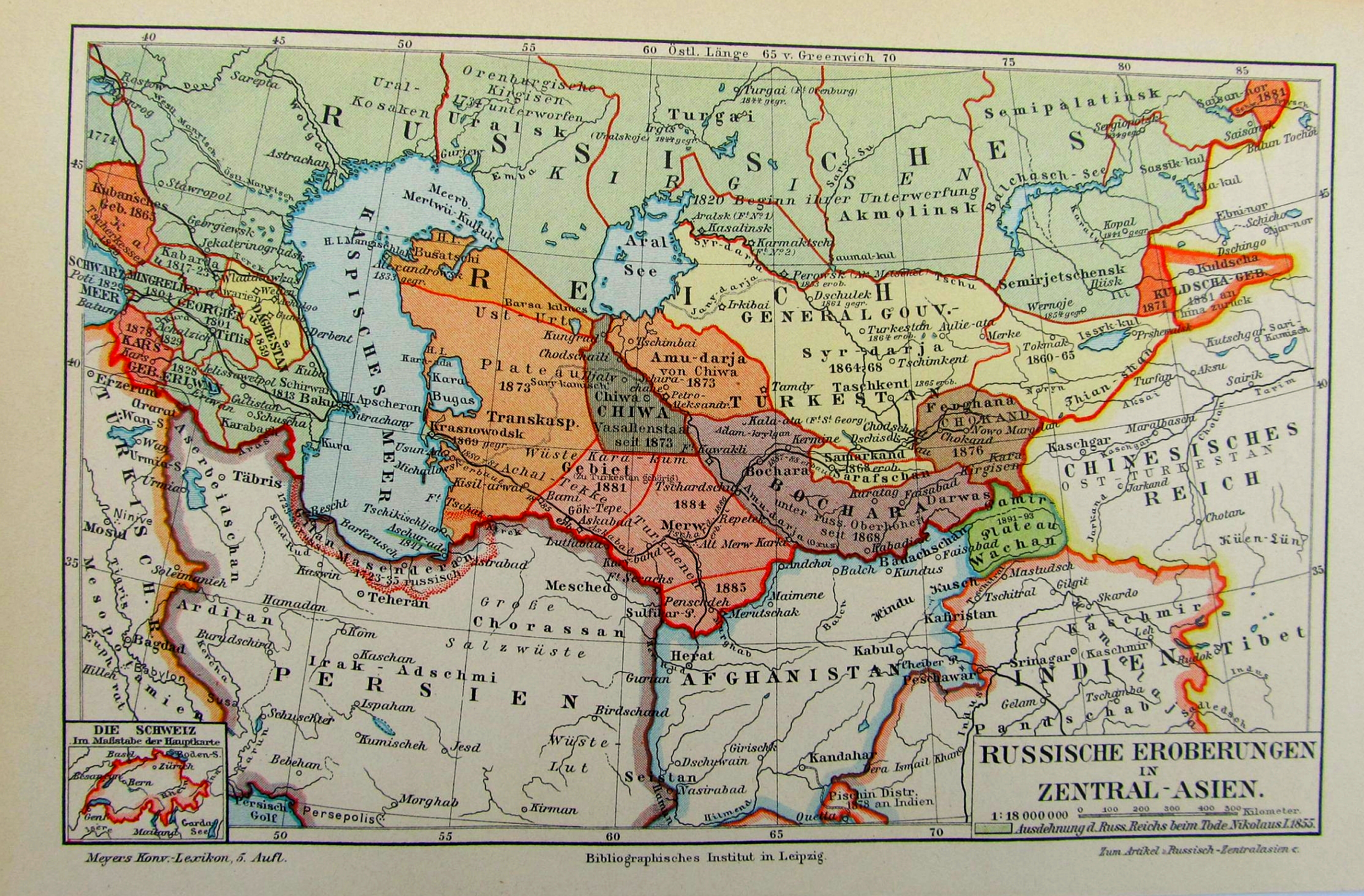 Russian aquisitions in Central Asia 1897 map