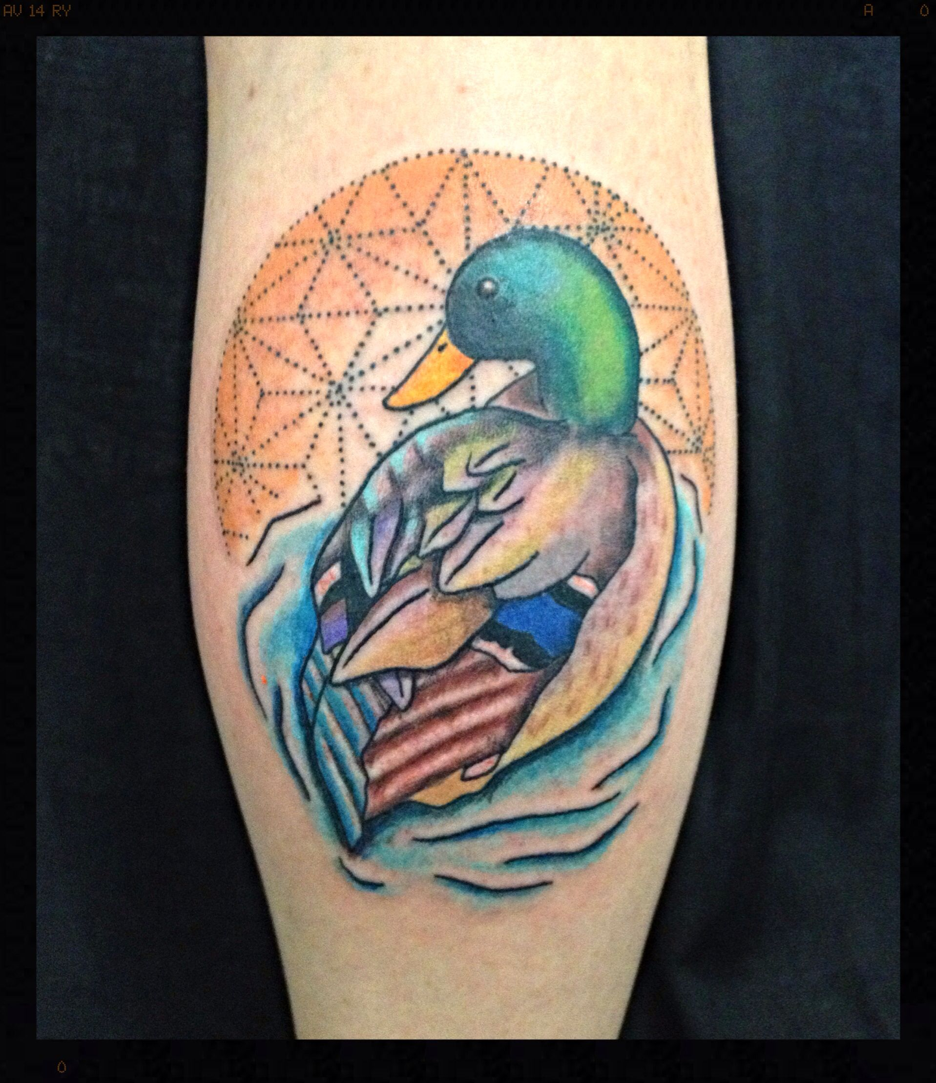 color dotwork mallard duck tattoo on calf tattoos and drawings