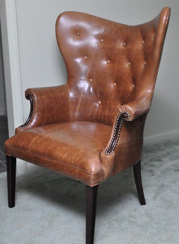 Vintage Leather Butterfly Wingback Chair by CCDeuxVie on Etsy - Vintage Leather Butterfly Wingback Chair Wingback Chairs, Vintage