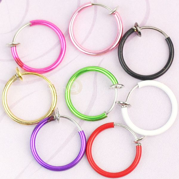 8 Color Clip On Fake Piercings Ring Ears Nose Lip Belly Earrings Body Jewellery