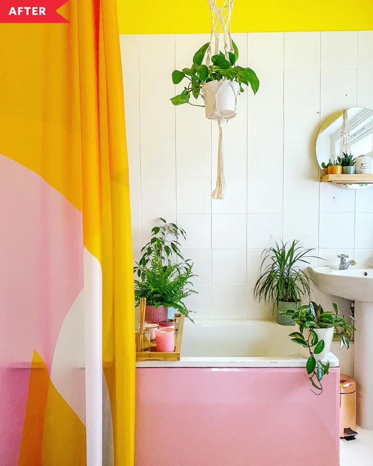 Before And After A 250 Redo Turns A White Bathroom Into A Colorful Plant Haven In 2020 Bathroom Redo Colored Ceiling Yellow Bathrooms