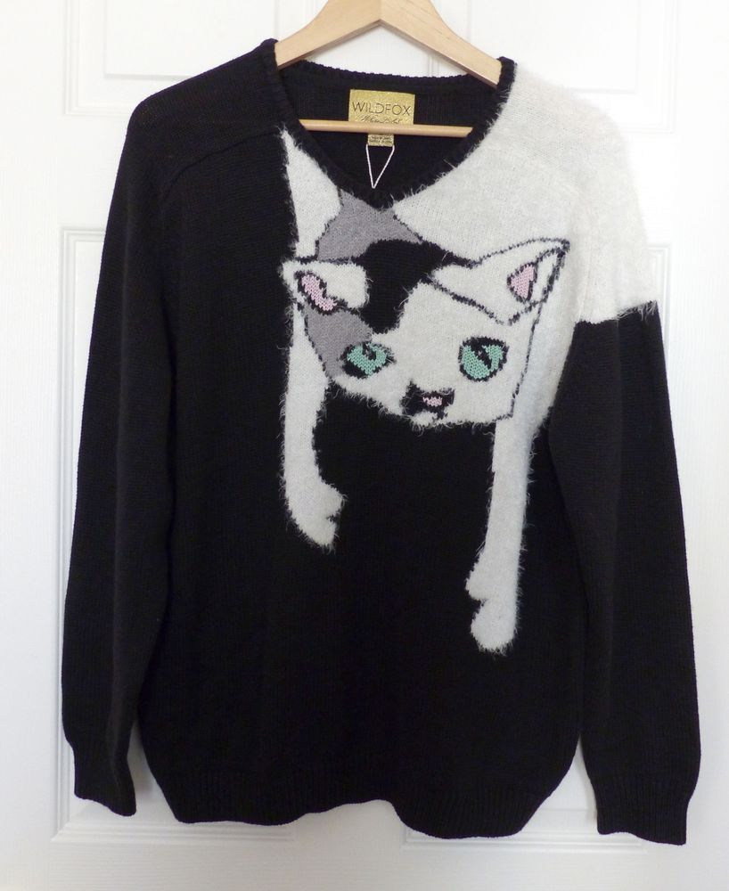 NWT WILDFOX WHITE LABEL Joan Baggy Boy Beach V-Neck Black Sweater ...