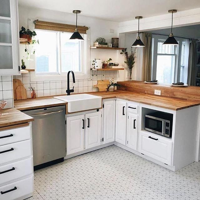farmhouse kitchen with butcher block countertops white cabinets and pattern flooring on kitchen cabinets not white id=12212