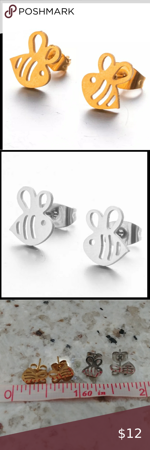 Photo of Stainless Steel Bee Earrings Dainty stainless steel silver or gold tone earrings…