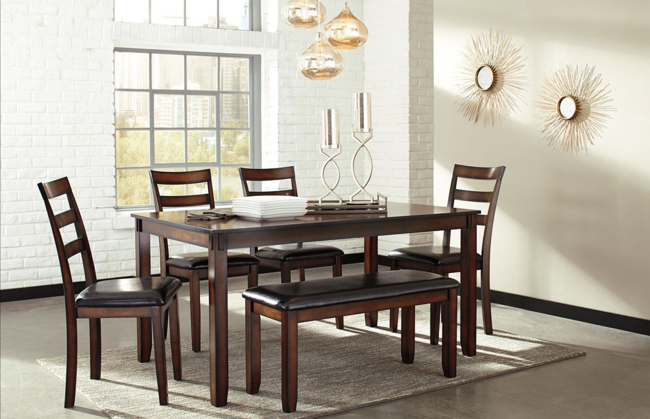 Coviar brown dining room table set made with birch veneers and hardwood solids and finished in a burnished brown finish chair barstool and bench seat