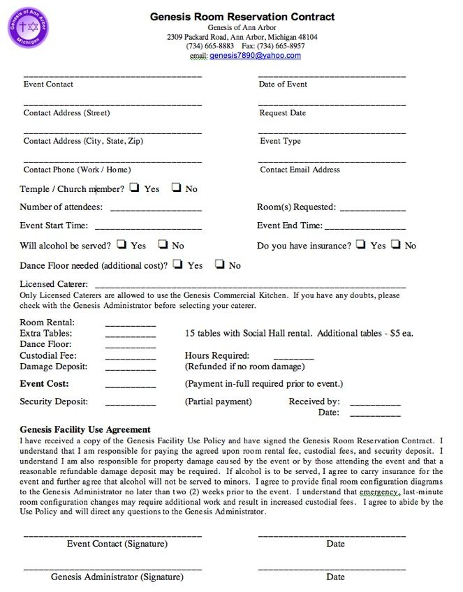 Printable Sample Rental Agreement For Room Form  Template For
