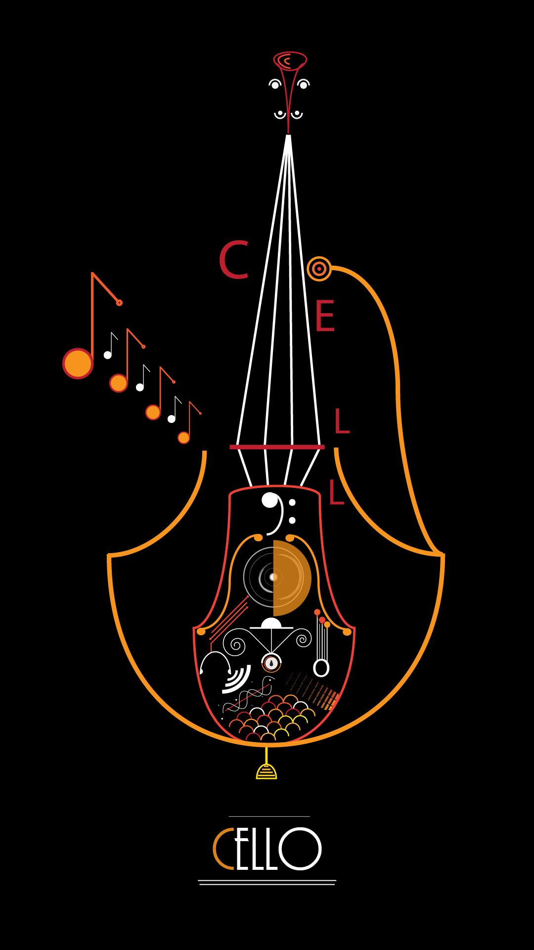 Vector Cello Classical Music Poster Cello Art Music Illustration