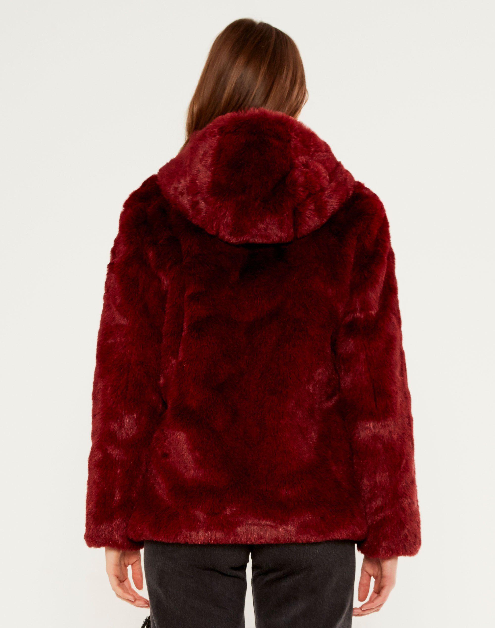 Hooded Faux Fur Coat Mars Red Coat Faux Fur Hooded Coat Winter Coats Women [ 2537 x 2000 Pixel ]