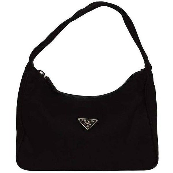 3f6fb17c13 Preowned Prada Small Black Nylon Shoulder Bag Shw (460 MYR) ❤ liked on  Polyvore