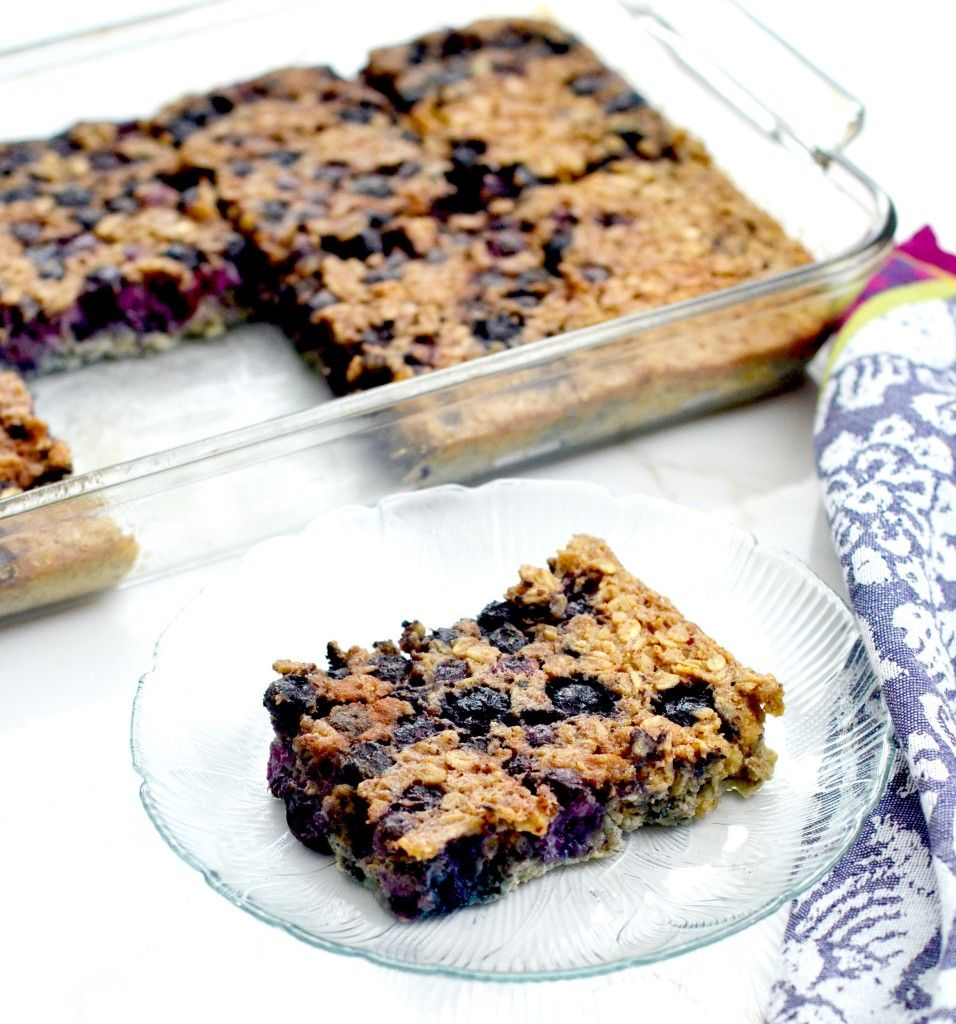 Baked blueberry oatmeal recipe! Greek yogurt and almond meal make this a protein-rich breakfast! It's gluten-free, refined-sugar free and feeds a crowd!
