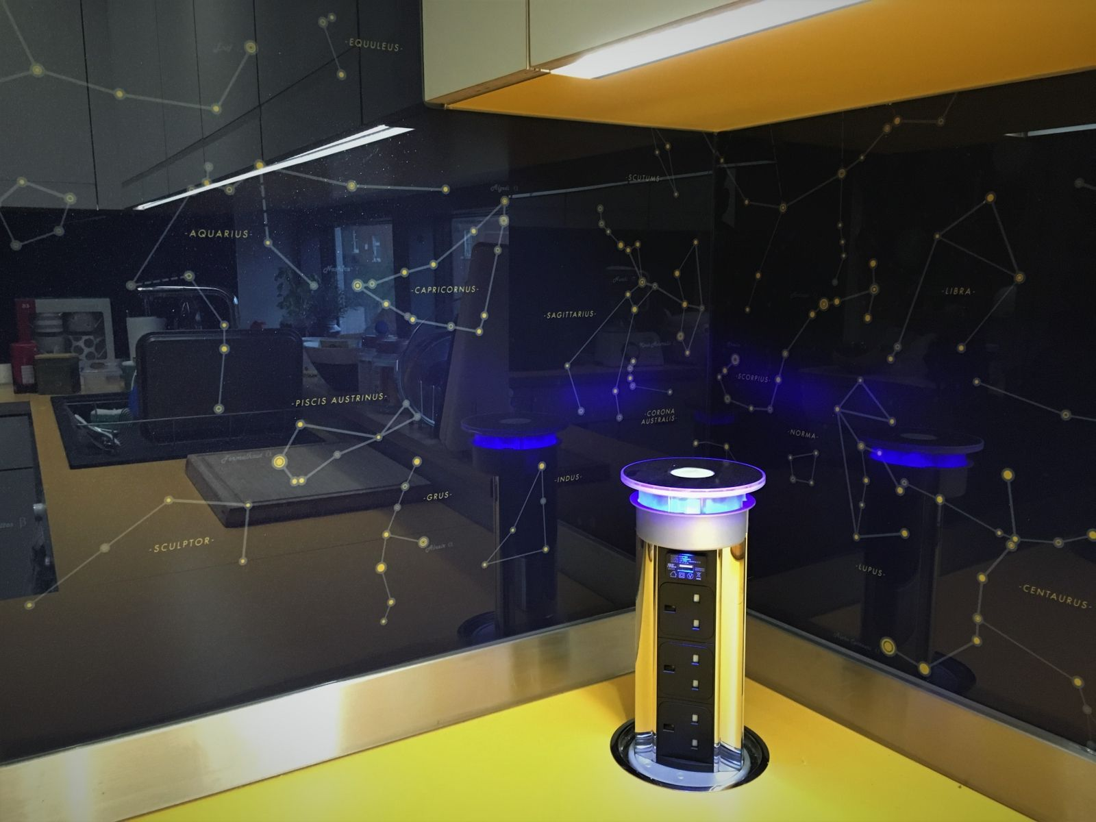 pop up power socket on kitchen worktop constellations theme