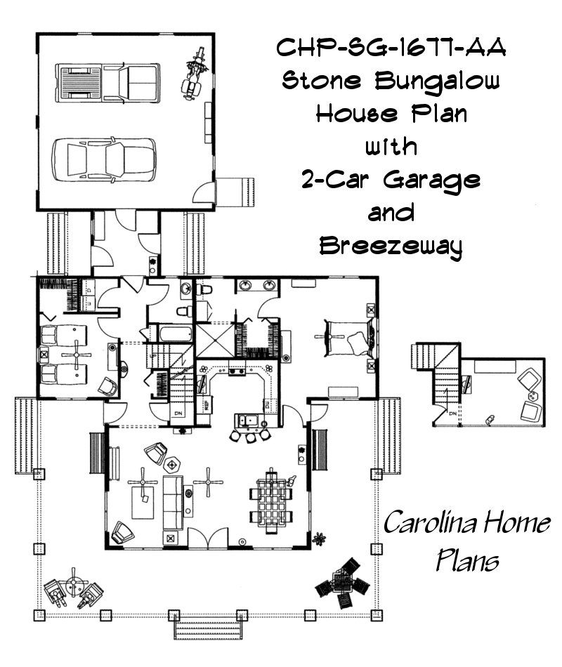 Bungalow 3d Floor Plan: Open Floor Plan With Cathedral Ceiling Great Room. SG-1677