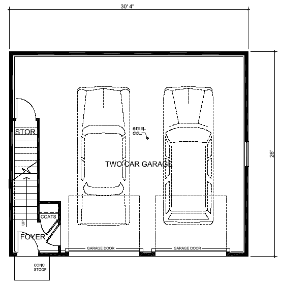 Saltbox Style 2 Car Garage Apartment Plan Number with 1 Bed 1 Bath