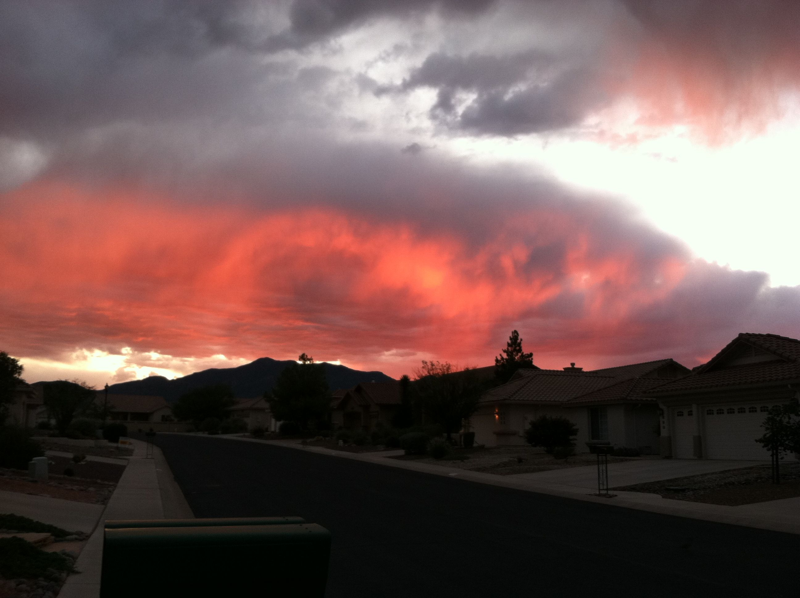 This was taken in 2011 in our neighborhood. No fear. No fire. This is just a glorious sunset.