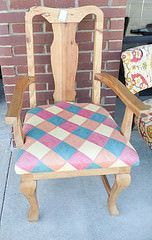 Light Wood Chair with Multicolored Cushion