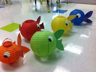 Fish paper lanterns sea sand and sailboats pinterest for Paper lantern fish
